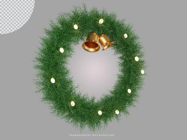 3d renderowany świąteczny wieniec i dzwonek z przezroczystym widokiem z boku tła