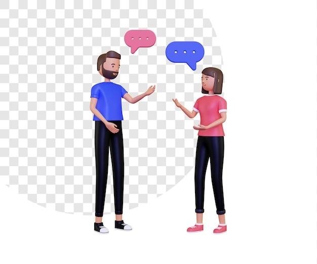 3d rozmowa ilustracja z męskim i żeńskim charakterem