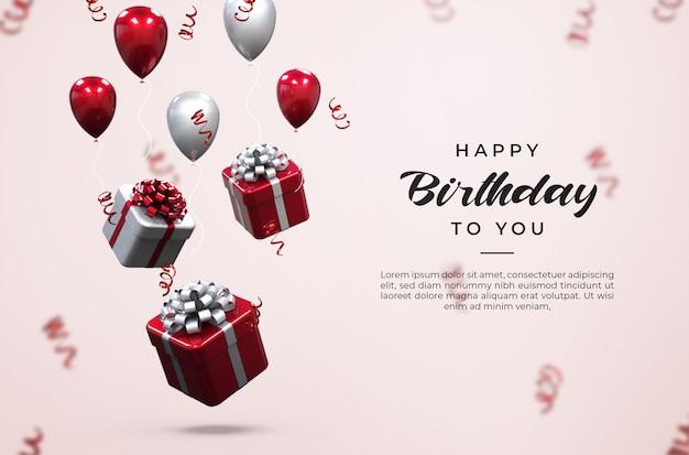 3d różowe i białe błyszczące balony, pudełka na prezenty i makieta konfetti