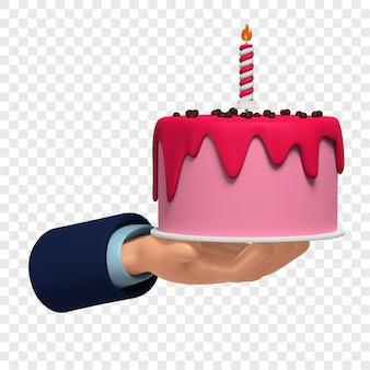 3d różowy tort urodzinowy w ręku na izolowanej ilustracji 3d