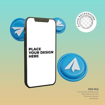 3d smartfon i telegram ikony mediów społecznościowych