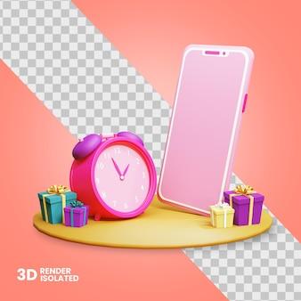 3d smartfon z ikoną zegara i pudełka upominkowego do sklepu internetowego na białym tle