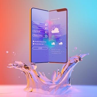 3d smartphone z efektem wody