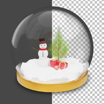 3d śnieżna kula ziemska z bałwana i choinką wewnątrz