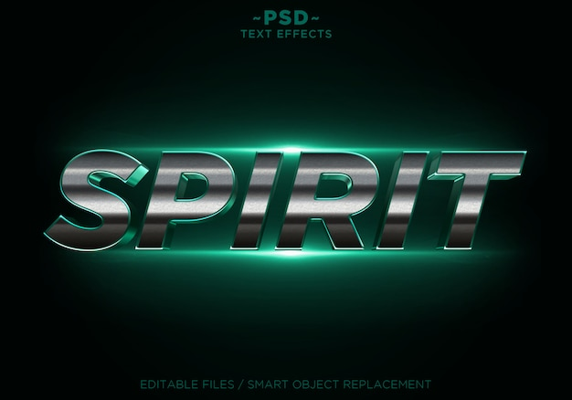 3d spirit green glitter golden effects tekst edytowalny