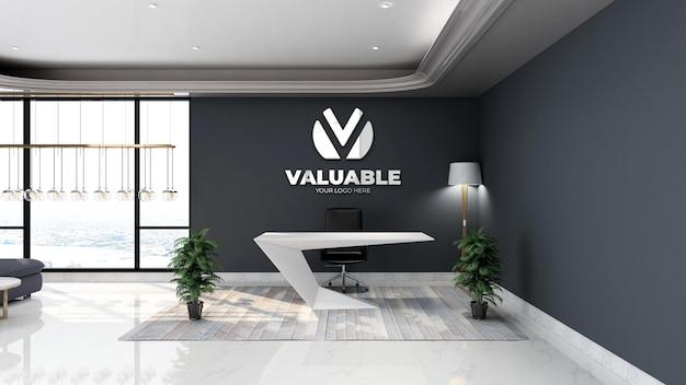 3d srebrna makieta logo firmy w biurze recepcjonistki z minimalistycznym wystrojem wnętrza