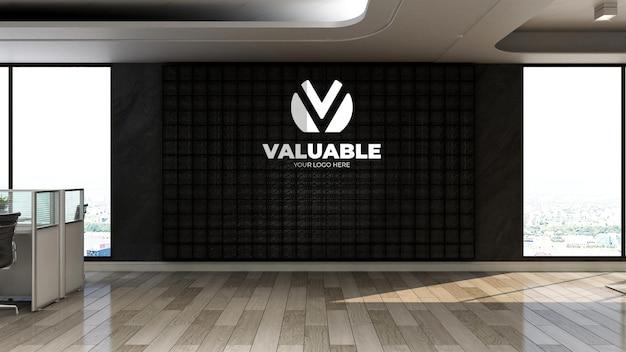 3d srebrna realistyczna makieta logo firmy w biurze lub miejscu pracy