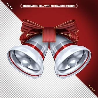 3d srebrny dzwonek z czerwoną realistyczną wstążką do makijażu