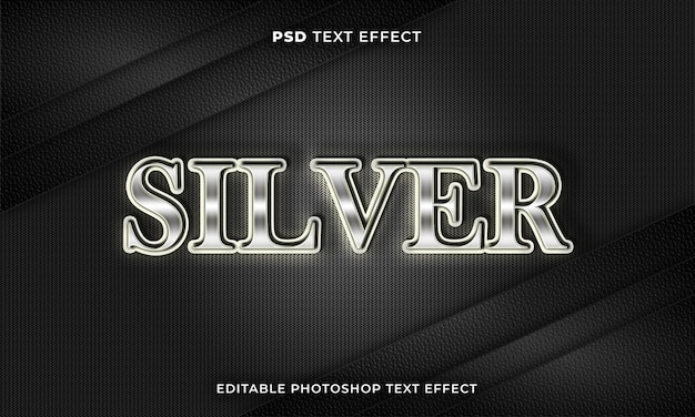 3d srebrny szablon efektu tekstowego