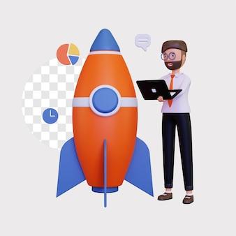 3d startup z męską postacią trzymającą laptopa