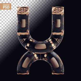 3d steampunk czarna litera z brązowymi częściami