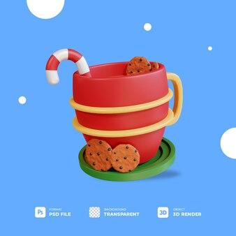 3d świąteczna gorąca czekolada z przezroczystym tłem