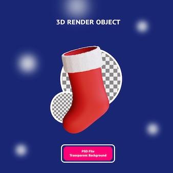 3d świąteczna skarpeta ilustracyjna obiekt renderowany przezroczystym tłem