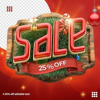 3d świąteczne logo sprzedaży kompozycji z dekoracją