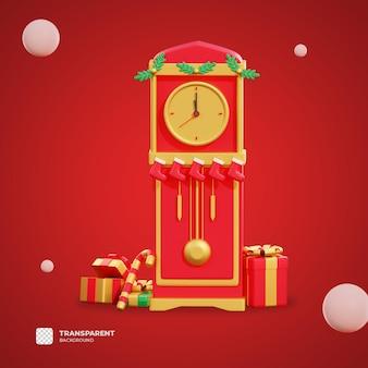 3d świąteczne pudełko i zegar z przezroczystym tłem