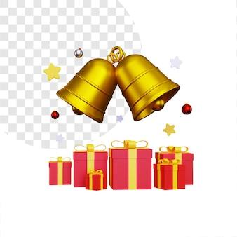 3d świąteczne pudełko z dwoma złotymi dzwoneczkami
