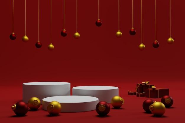 3d świąteczne tło podium z czerwonym kolorem na stoisku produktu