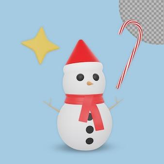 3d świąteczny projekt renderowania bałwana na białym tle