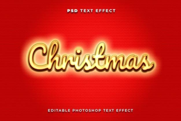 3d świąteczny szablon efektu tekstowego ze złotymi i czerwonymi kolorami