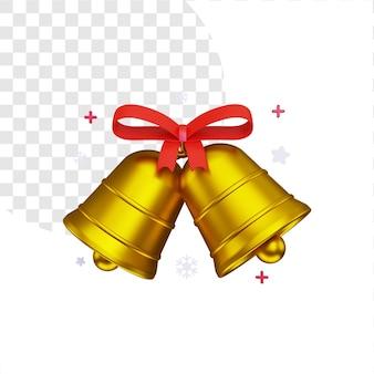 3d święta bożego narodzenia z dwoma złotymi dzwonkami