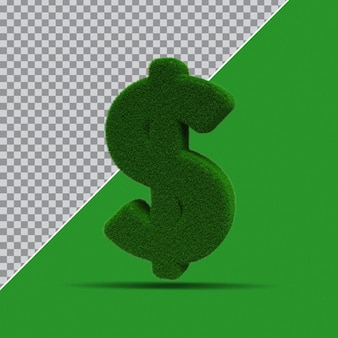 3d Symbol Dolara Z Trawy Premium Psd