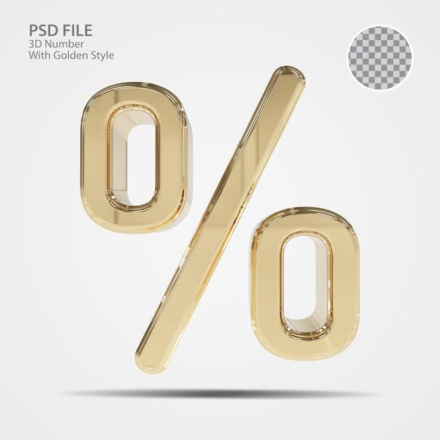 3d symbol procent złota