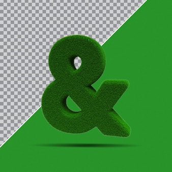 3d symbol z zielonej trawy
