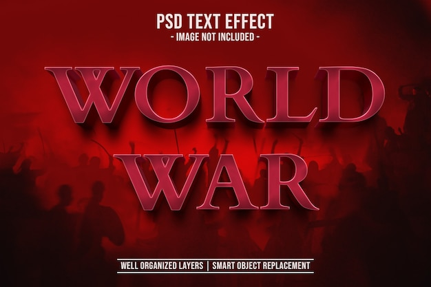3d szablon efektu stylu tekstu wojny światowej