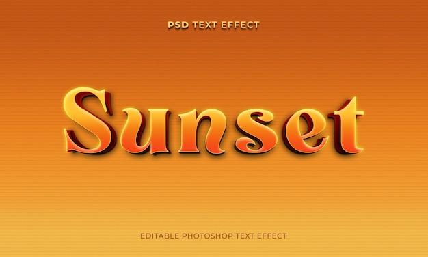 3d szablon efektu tekstu zachodu słońca