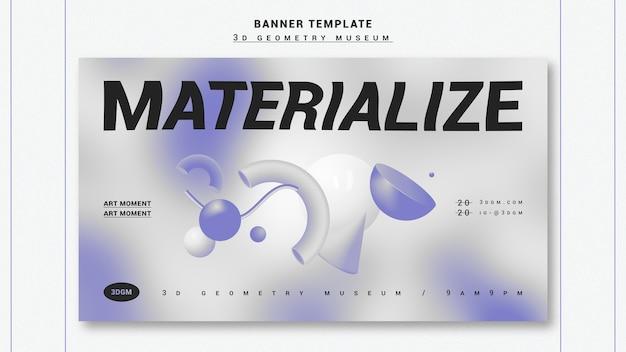 3d szablon geometryczny kształty banner