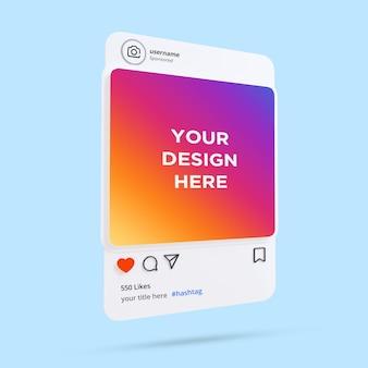 3d szablon ramki na instagramie makieta postu w mediach społecznościowych