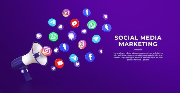 3d szablon transparent marketingu mediów społecznościowych