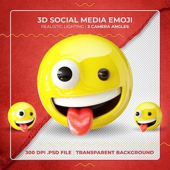 3d szalony uśmiechnięty emoji na białym tle