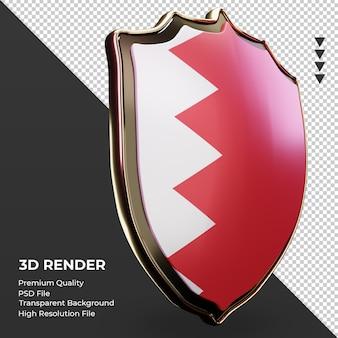 3d tarcza flaga bahrajnu renderująca widok z lewej strony