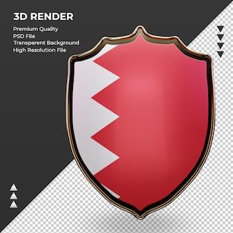 3d tarcza flaga bahrajnu renderująca widok z przodu