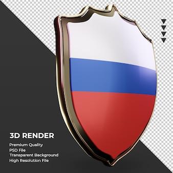3d tarcza rosyjska flaga renderująca widok z lewej strony