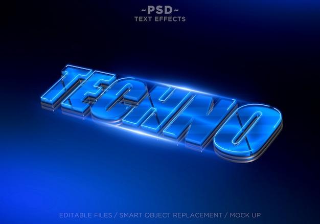 3d techno blue edytowalny efekt tekstowy
