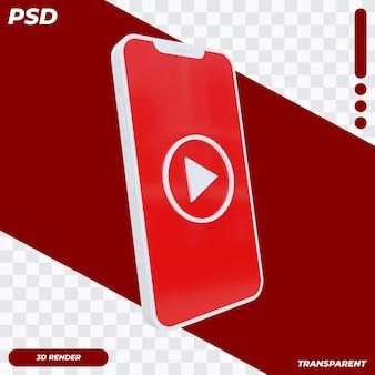 3d telefon komórkowy z ikoną muzyki youtube