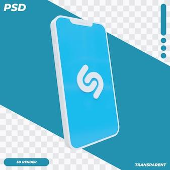 3d telefon komórkowy z ikoną shazam