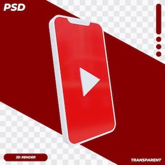 3d telefon komórkowy z ikoną youtube