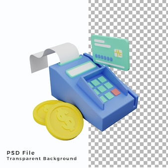 3d terminal płatniczy kartą kredytową z ilustracją monet wysokiej jakości