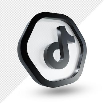 3d tiktok logo szkło akrylowe na białym tle