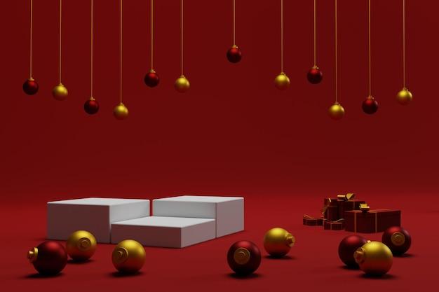 3d tło bożonarodzeniowe na podium z czerwonym kolorem do prezentacji produktu