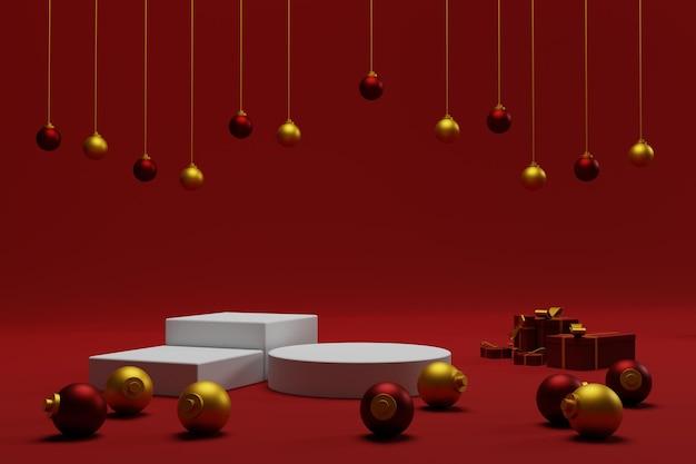 3d tło bożonarodzeniowe na podium z czerwonym kolorem do reklamy produktu