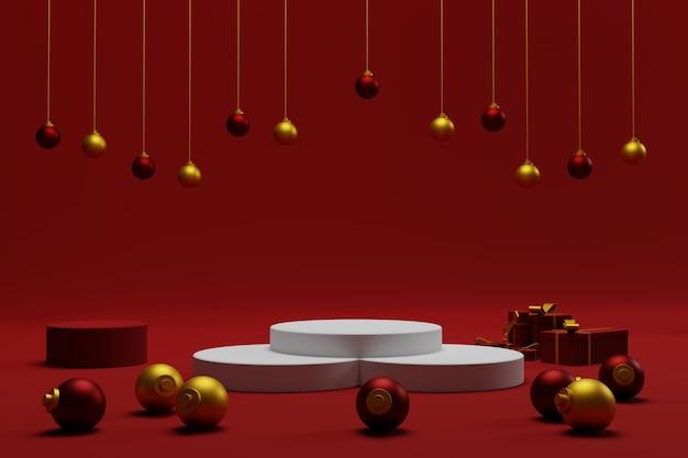 3d tło bożonarodzeniowe na podium z czerwonym kolorem do wyświetlania produktu