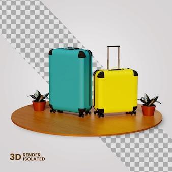 3d torba podróżna gotowa na wakacje koncepcja na białym tle