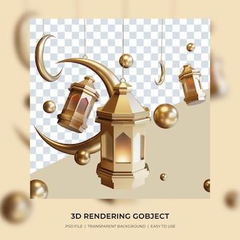 3d tradycyjna lampa z koncepcją półksiężyca