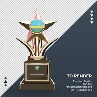 3d trofeum flaga rwandy renderujące widok z przodu