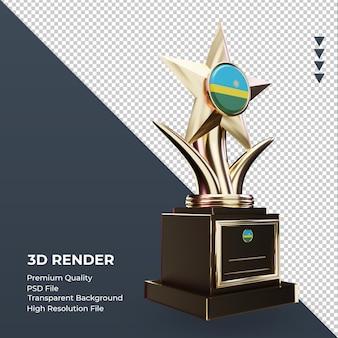 3d trofeum flaga rwandy renderujący widok z lewej strony