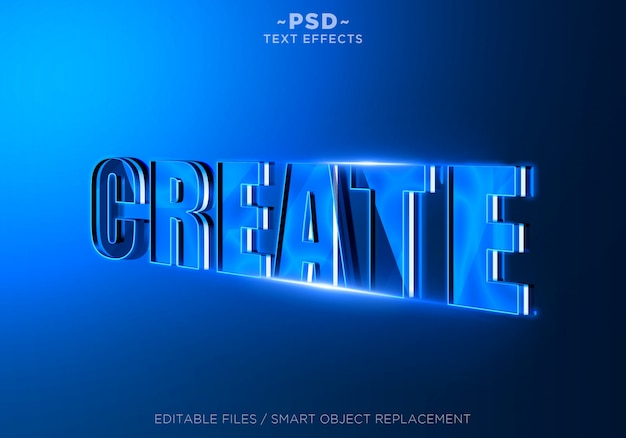 3d utwórz niebieski edytowalny efekt tekstowy